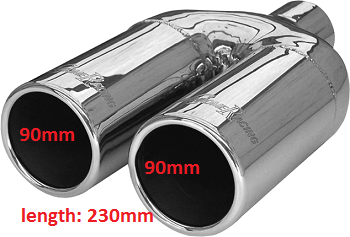 Twin, long, round exhaust trim